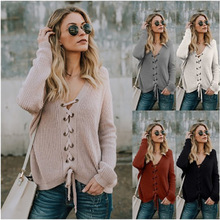 2019 Winter Fall Women Casual Belt Vneck Pullover Sweater Woman Pink Pulover Knitted Sweter Femme Pull Clothes Autumn Korean Top pulover galvanni pulover