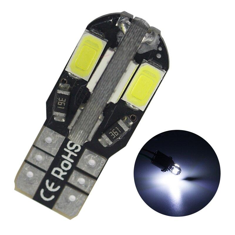 1PC T10 LED Car Width Lamp Canbus 5730 8SMD12V Car LED Bulb Side Wedge Light White Lightfor License Plate Interior Reading Light