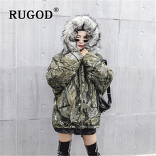 RUGOD 2019 new Camouflage winter cotton coat women Fashion Fur Hooded Parka Long Coats Vintage Warm Thicken Jaqueta Feminina