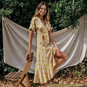 Image 3 - Simplee 여성 v 목 프린트 드레스 봄 여름 프릴 슬리브 포장 boho 드레스 휴일 숙녀 세련된 벨트 파티 드레스 vestidos
