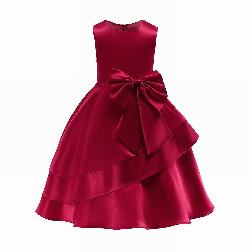 Red Kids Dresses For Girls Flower Tulle Dress Wedding Little Girl Ceremony Party Birthday Dress Children Autumn Clothing