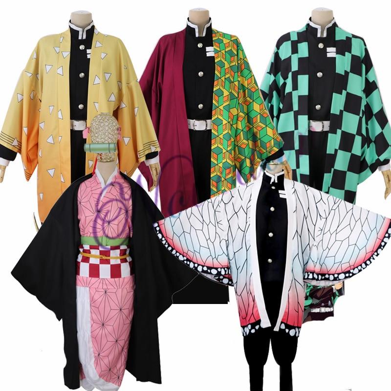 Kimetsu No Yaiba Kamado Tanjirou Agatsuma Zenitsu Tomioka Giyuu Kamado Nezuko Kimono Anime Demon Slayer Uniform Cosplay Costume