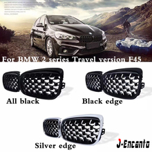 A pair Front Kidney Grille For BMW 2 Series F22 F45 Travel version Diamond Meteor Style Bumper Grill