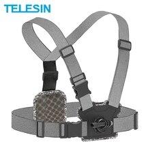 TELESIN pas piersiowy przedni tylny podwójny uchwyt mocna elastyczność dla GoPro 9 8 7 6 5 DJI OSMO YI SJCAM SJ8 SJ9 akcesoria do aparatu
