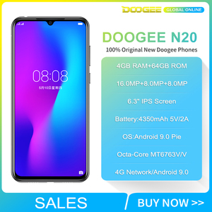 Image 2 - هاتف Doogee N20 محمول بشاشة 6.3 بوصات مع إسقاط الماء وكاميرا خلفية ثلاثية بدقة 16 ميجابكسل وبطارية 4350 مللي أمبير في الساعة وذاكرة وصول عشوائي 4 جيجابايت + مساحة تخزين 64 جيجابايت ومعالج ثماني النوى وقدرة 10 واط ومزود بشحن هاتف ذكي بتقنية الجيل الرابع