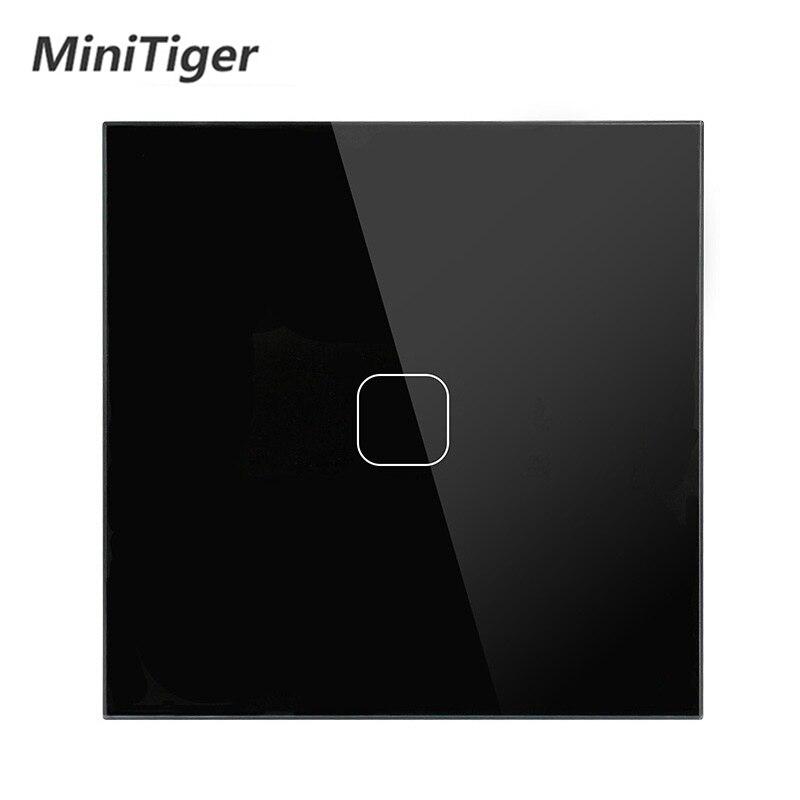 Minitiger Luxury Wall Touch Sensor Switch EU/UK Standard Light Gray Crystal Glass Touch Switch Power 1/2/3 Gang 1 Way AC 220 2