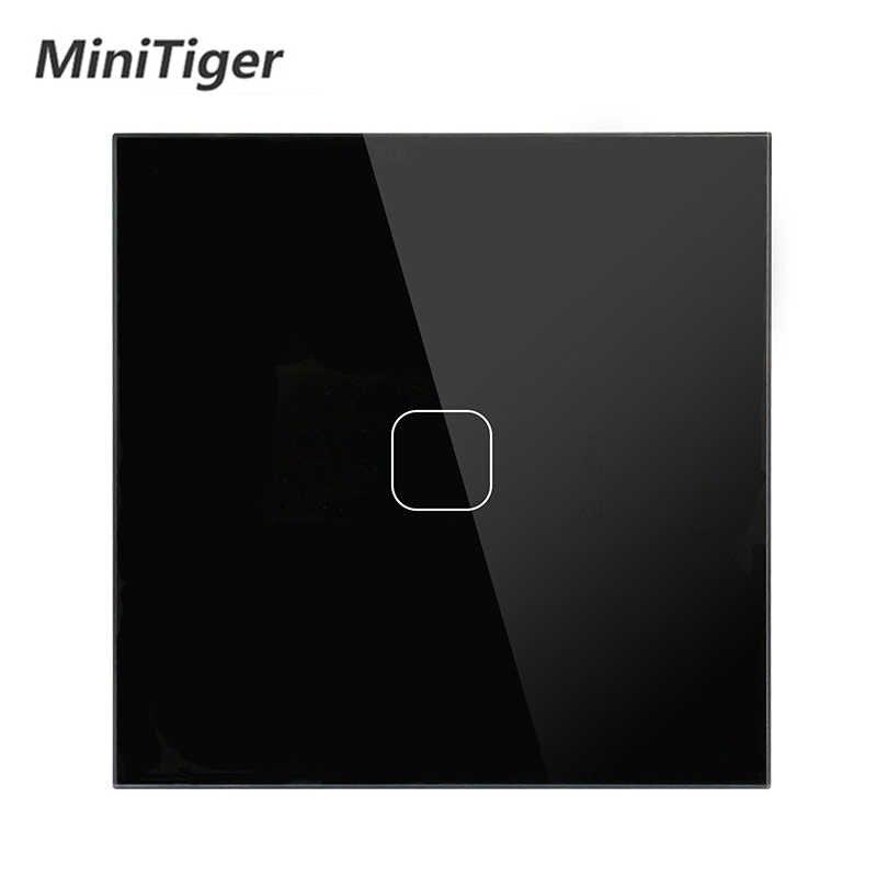 Commutateur tactile Stanard de l'ue panneau de verre en cristal blanc 1 Gang interrupteur tactile 1 voie, commutateur d'écran tactile de mur de lumière de l'ue, ca 170-250V