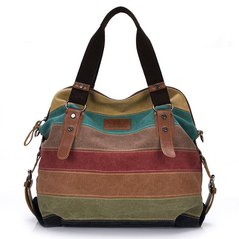 Canvas Bag Europe And America Rainbow Stripes Canvas Bag Fashion Joint Women's Shui Xi Bao Canvas Bag