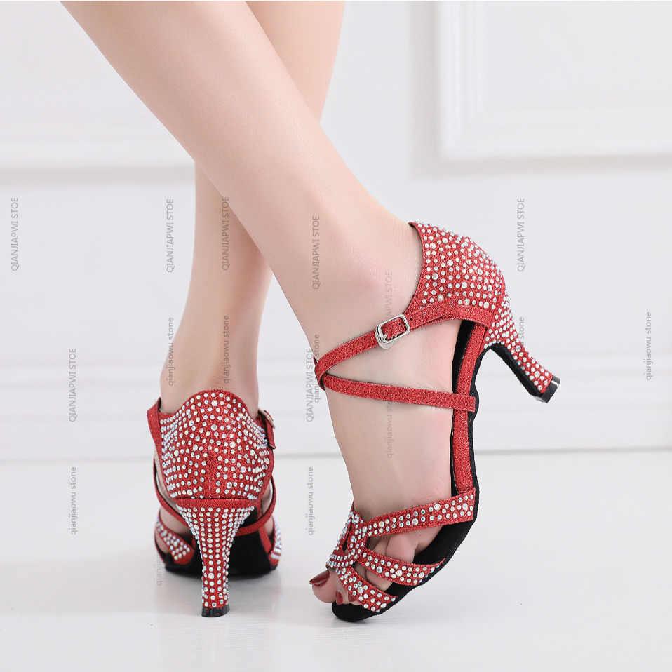 Yeni stil salsa caz balo salonu latin dans ayakkabıları dans kadın pratik bayanlar tango vals latina topuk yaz sandalet