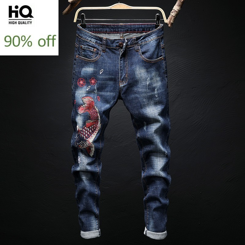 Design New Men Straight Stretch Jeans Fashions Embroidery Animal Ripped Slim Fit Jeans Pants Men Hip Hop Vintage Denim Trousers