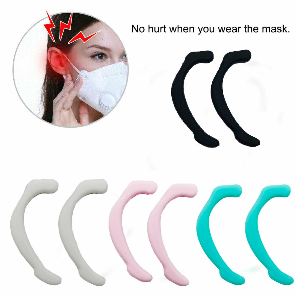 1 Pair Soft Silicone Mask Ear Hook Anti-Leak Anti-Pain Invisible Face Mask Ear Grips