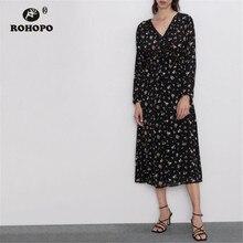ROHOPO Long Sleeve Floral Black Midi Dress Peplum Overlocked Maxi Multiways Printed Vestido #9249