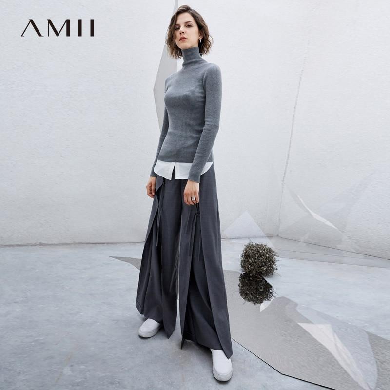 Amii Minimalism Spring Woolen Wide Leg Pants Women Solid Loose High Waist Causal Pant 11776198