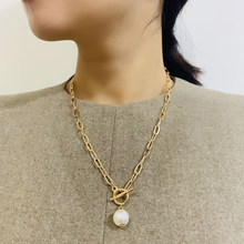 Quality Punk Simulated Pearl Pendant Necklaces for Women Shine Link Chain Layer Necklace Lasso Lariat Curb Cuban Collars Jewelry