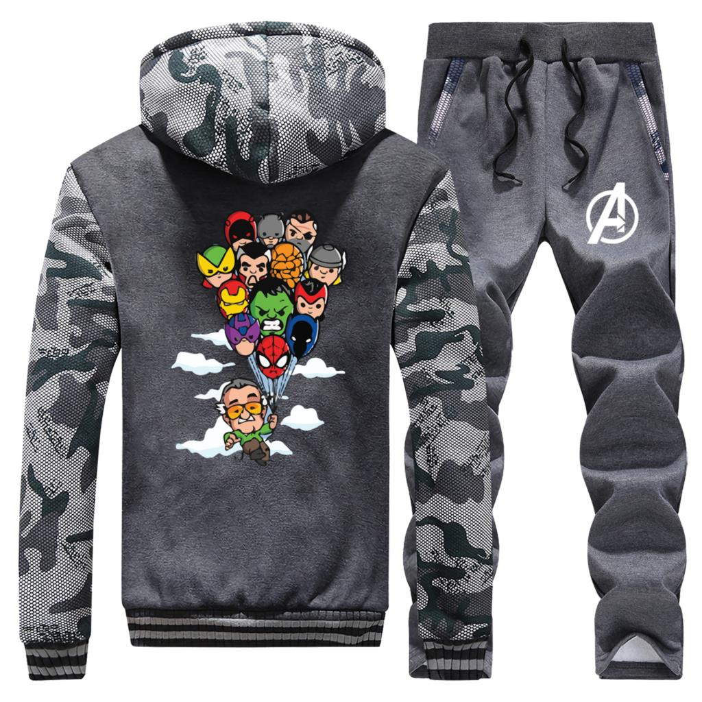 Marvel The Avengers Mens Hooded Fashion Streetwear Winter Hot Sale Camoufalge Coat Thick Suit Warm Jackets+Pants 2 Piece Set