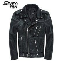Мужская мотоциклетная куртка из натуральной кожи, черные кожаные куртки на молнии, брендовая байкерская куртка из воловьей кожи для мужчин