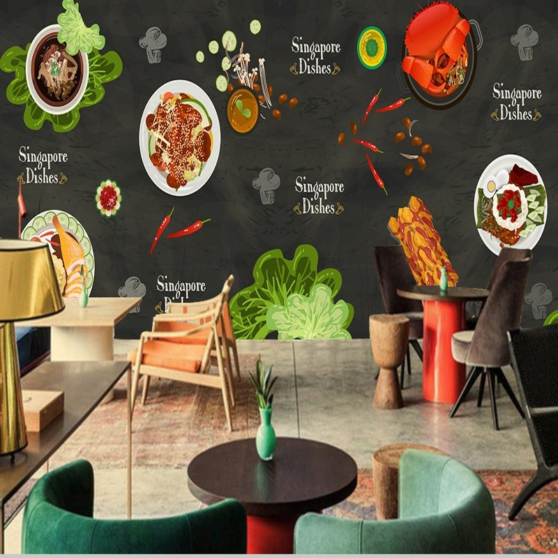 Drop Shipping Wallpaper 3d Custom  Wallpaper Hand Painted Chinese Food Wallpaper High Quality  Kitchen Decoration Painting
