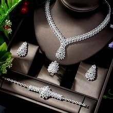 HIBRIDE lujo Nigeria 4 Uds Zirconia nupcial Juegos de joyas para mujer fiesta Dubai Nigeria de cristal CZ para bodas joyería Bijoux N 818