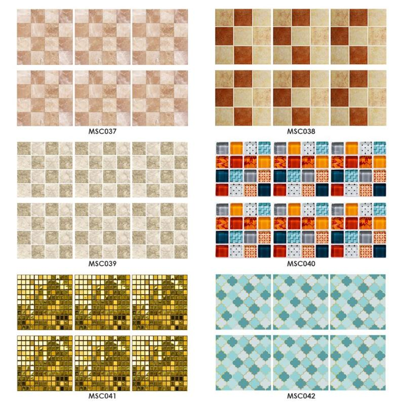 6pcs Kitchen Waterproof Tiles Mosaic Wall Stickers Bathroom Adhesive Decor Fine Painting Supplies PVC Wallpapers