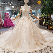 LS014478 shiny wedding gown with glitter sweetheart off shoulder lace up v-back dresses from real factory free shipping