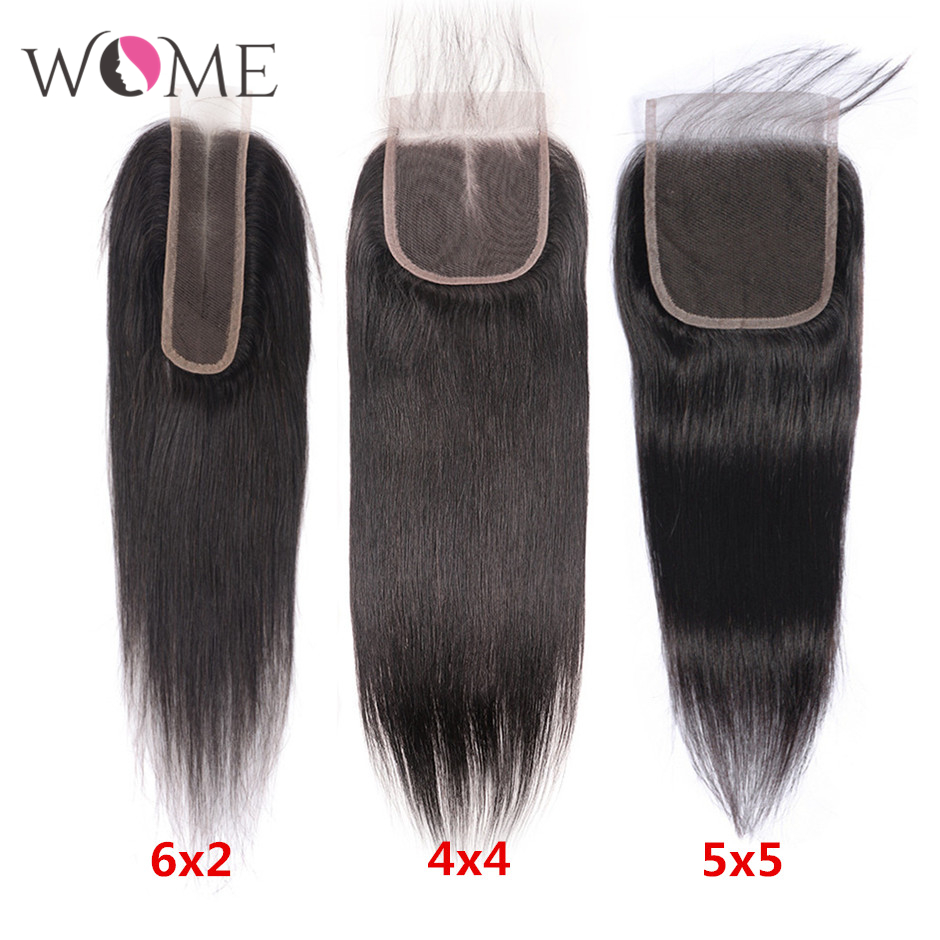 WOME Hair 6x2 4x4 5x5 Lace Closure Brazilian Straight Human Hair Lace Closure Natural Color Remy Hair10- 20 Inches Closure