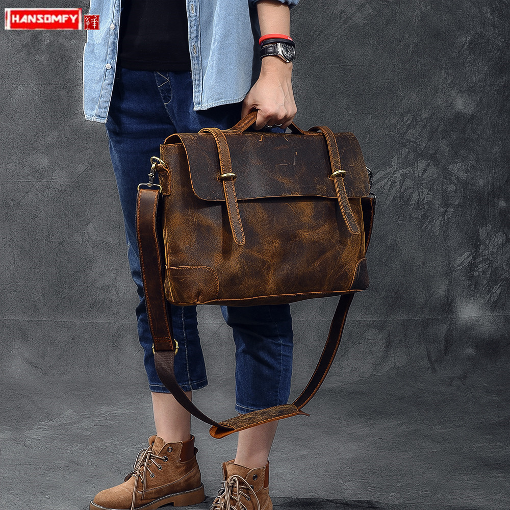 Imported Leather Retro Men's Handbag Leather Male Laptop Bag Briefcase Men Shoulder Messenger Bags Classic Crazy Horse Leather