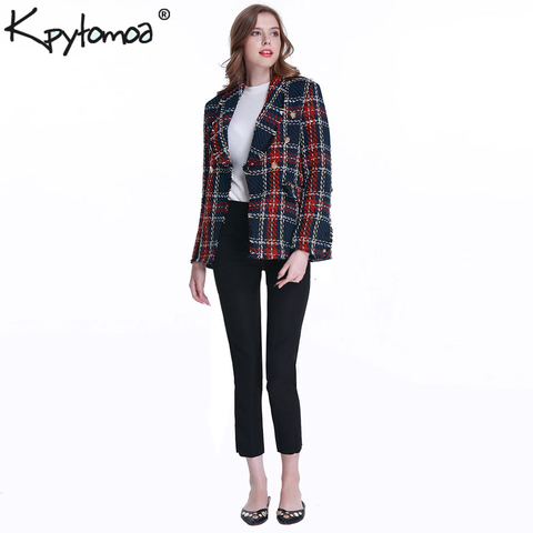 Vintage Double Breasted Frayed Checked Tweed Blazers Coat Women 2019 Fashion Pockets Plaid Ladies Outerwear Casual Casaco Femme Multan