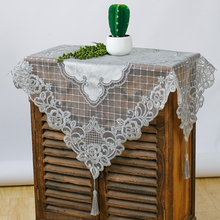 NEW European Luxury Velvet Lace Water Soluble Embroidery Tablecloth Coaster Balcony Coffee Table Mat Furniture Dust Cloth Tapete