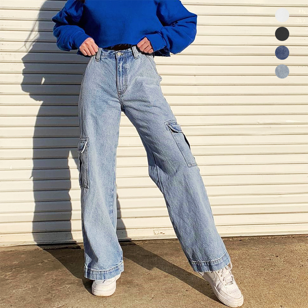 Weekeep Pockets Patchwork High Waist Jeans Women Streetwear Straight Jean Femme Blue 100% Cotton Cargo Pants