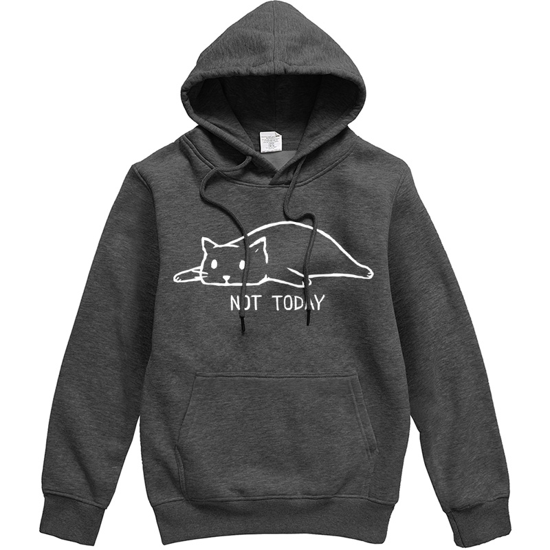 2019 Fashion Not Today Hip Hop Men's Hoodies Autumn Winter Fleece Male Hooded Sweatshirts Funny Hipster Cat Lazy Print Tracksuit