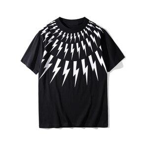 2019 nueva camiseta clásica de manga corta con cuello redondo y estampado de rayos para hombre