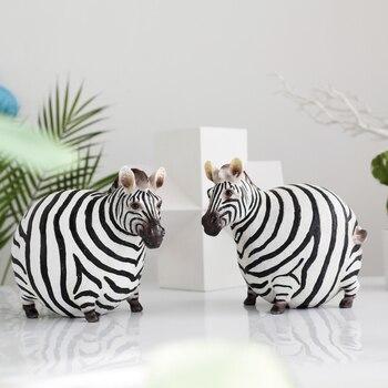 Nordic Simple Creative Cute Zebra Figurine Animal Statue Resin Craft Cartoon Style Decorations For Home R3252