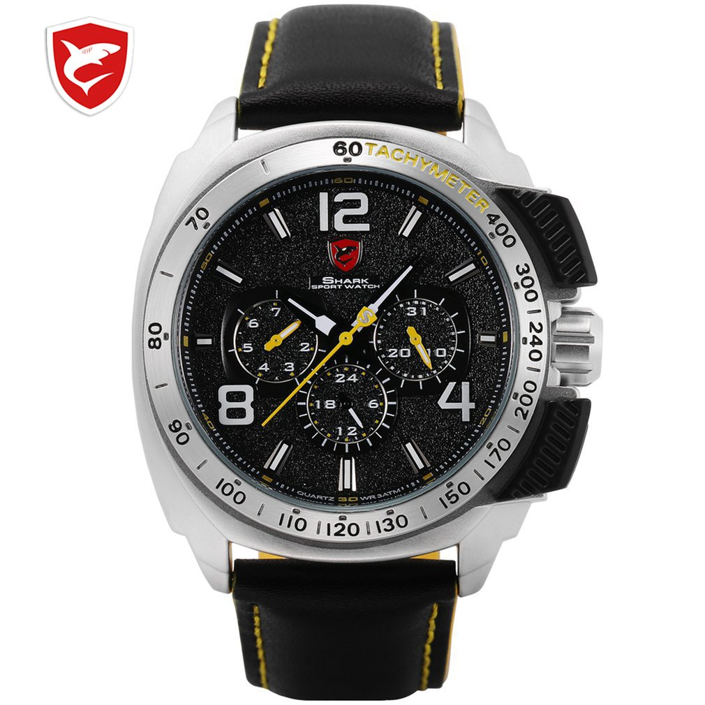Reloj deportivo Tiger Shark de marca de lujo para hombre, reloj rojo de cuarzo con 6 manos y fecha de 24 horas, reloj informal de cuero con correa militar, reloj Masculino/SH417