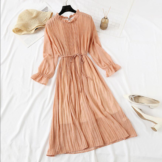Lovely crinkle dress, long length, cuffed sleeve dress 4