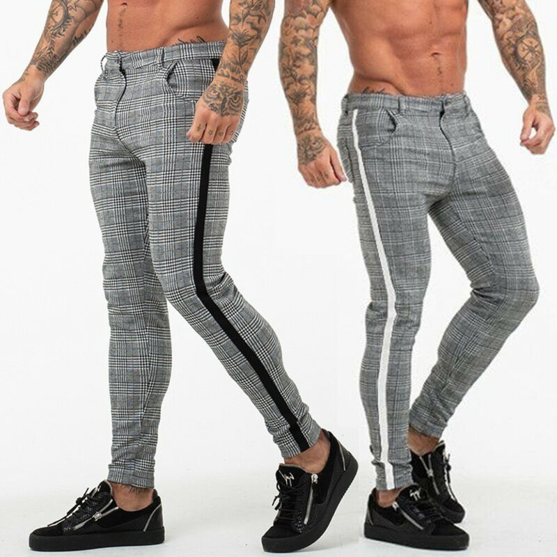 Men's Check Trousers Pants Fashion Bottoms Joggers Slim Tracksuit Pants Casual Skinny Zip Pocket Pencil Trousers Streetwear