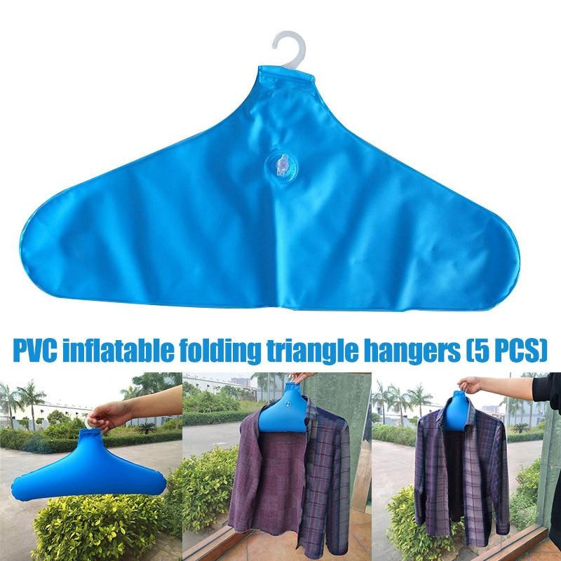 Newly 5 Pcs PVC Inflatable Clothes Hanger Rack Foldable Non Slip Travel Portable Coat Hangers MK