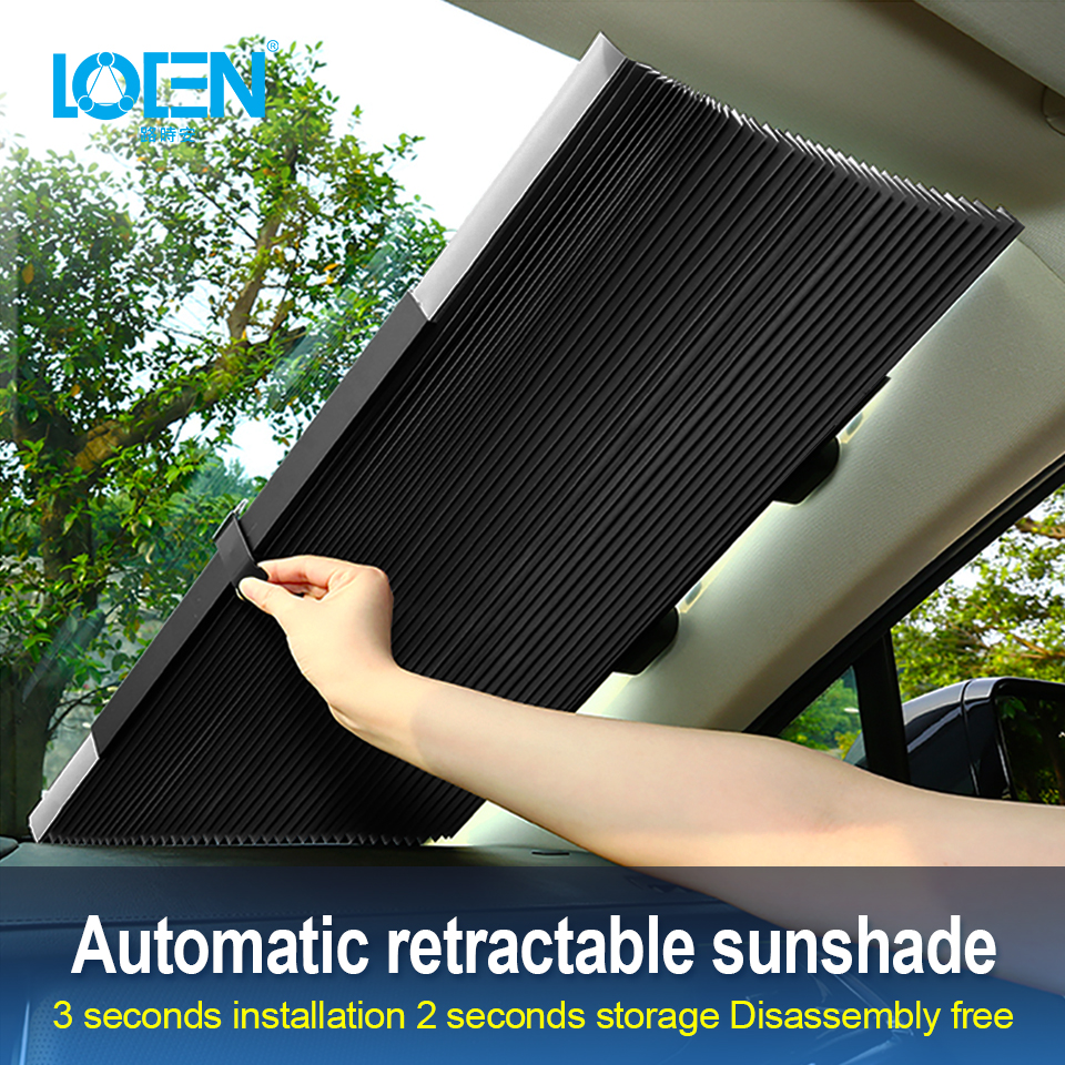 LOEN 1 piece Retractable Front Rear Car Windshield Sunshade Window Sun Shade Sunshade Visor Film For Car Window Auto Accessories