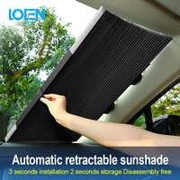 LOEN 1 piece Retractable Front Rear Car Windshield Sunshade Window Sun Shade Sunshade Visor Film For Car Window Auto Accessories