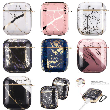 Earphone Case For AirPods 2 Pro Cases Electroplated Marble Cute Gold Glossy Hard Protective Cover for AirPod 2 1 Air Pods Coque