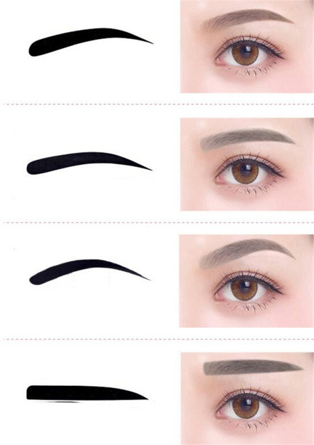 50 pcs/lot 4 Pieces Reusable Eyebrow model template Eyebrow shaper Defining Stencils makeup tools