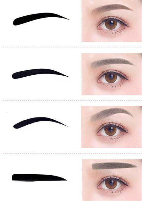 New 200 pcs/lot 4 Pieces Reusable Eyebrow model template Eyebrow shaper Defining Stencils makeup tools 1