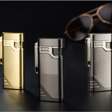 цена на With Keychain Torch Turbine Lighter Jet Butane  Blue Fire Cigar gas Lighter Cigarette Lighter 1300 C Butane Windproof Lighters