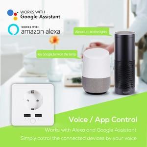 Image 3 - AVATTO Smart USB Wall Socket 16A EU Wifi Power Plug Works With Google Home Alexa IFTTT Tuya Smart life APP Voice Remote Control