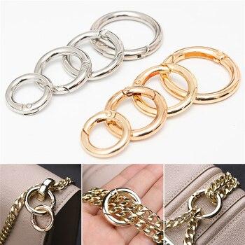 2Pcs Metal Spring O-Ring Buckles Clips Carabiner Purses Handbags Buckles Round Push Trigger Snap Hooks Carabiner Bag Accessories