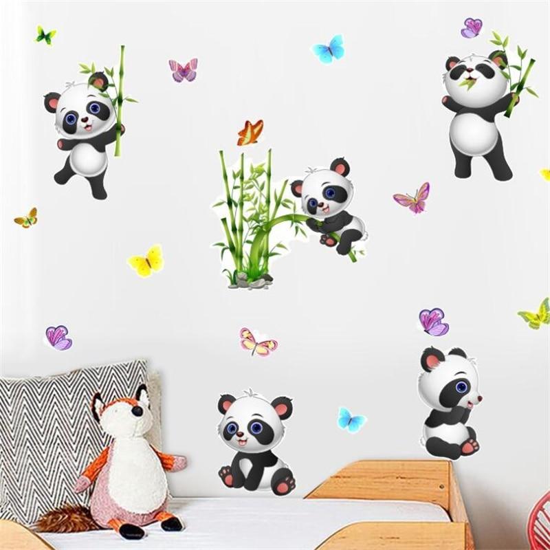 Мультяшные панды бамбуковые бабочки наклейки на стену для комнаты гостиной спальни настенное украшение домашний декор дверные наклейки