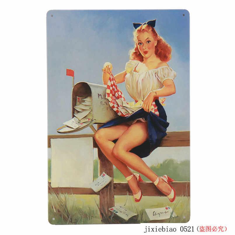 Pin Up Gadis Tintin Tanda Logam Poster Mobil Bir Plakat Lukisan Dinding Stiker untuk Pub Bar Club Dekorasi Rumah Tin sign 30X20 Cm H50