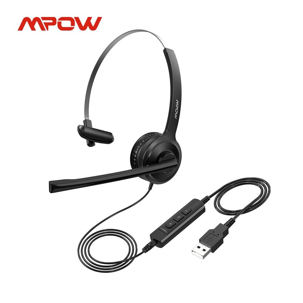 Проводная стерео Компьютерная гарнитура Mpow BH323 с шумоподавлением, штекер 3,5 мм/USB, гибкое вращение, для колл-центра, ПК, ноутбука