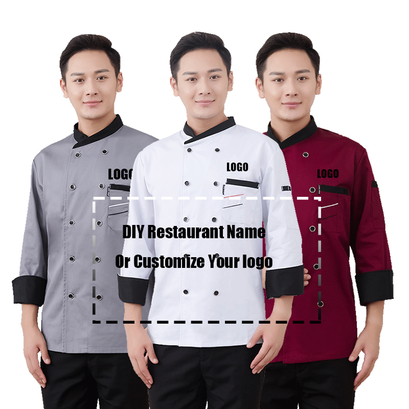 Custom Logo Chef Jacket Catering Autumn Tunic Work Wear Clothes Hat Restaurant Uniforrms Coat Botton Women Kitchen Cook Clothing