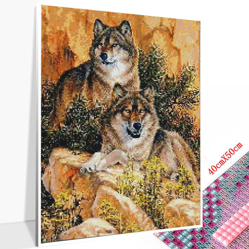 Huacan 5D DIY יהלומי ציור זאב מלא כיכר/עגול צבע עם יהלומים רקמת בעלי החיים קישוטי בית אמנות