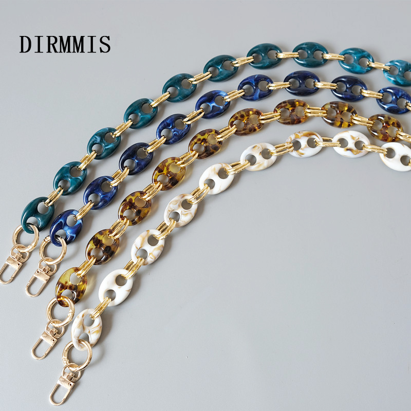 New Fashion Woman Bag Accessory Parts Leopard Candy Beige Blue Acrylic Resin Metal Chain Strap Women Shoulder Cute Clutch Chain